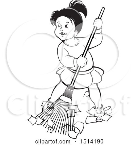 Clipart of a Little Girl Sweeping, Grayscale - Royalty Free Vector Illustration by Lal Perera
