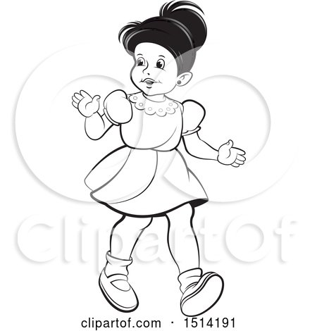 Clipart of a Little Girl Walking, Grayscale - Royalty Free Vector Illustration by Lal Perera