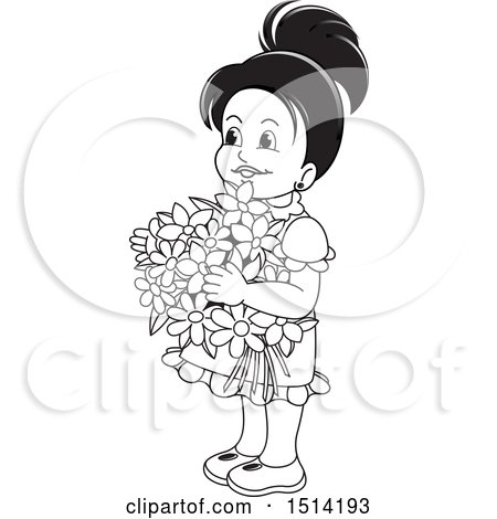 Clipart of a Little Girl Holding Flowers, Grayscale - Royalty Free Vector Illustration by Lal Perera