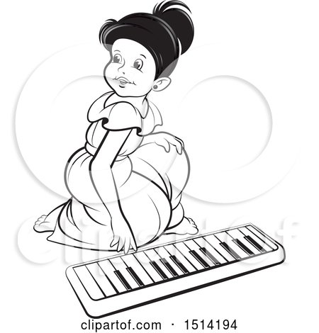 Clipart of a Girl Kneeling to Play an Electronic Piano - Royalty Free Vector Illustration by Lal Perera
