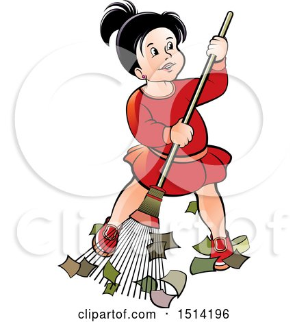 Clipart of a Little Girl Sweeping - Royalty Free Vector Illustration by Lal Perera