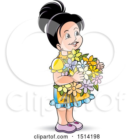 Clipart of a Little Girl Holding Flowers - Royalty Free Vector Illustration by Lal Perera