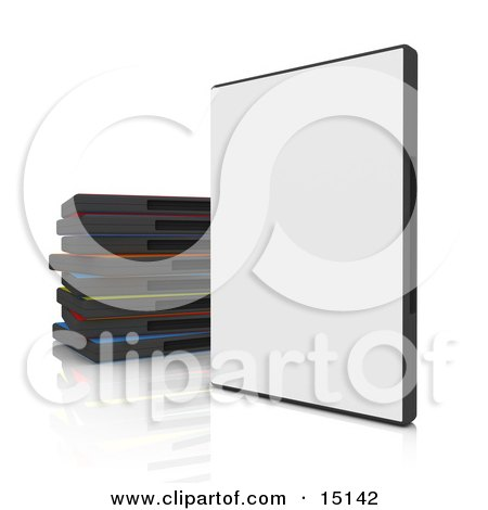 Closed Blank, White Dvd Or Software Case Balanced Upright Beside A Stack Of Colorful Cases On A White Reflective Background Clipart Graphic Illustration by 3poD