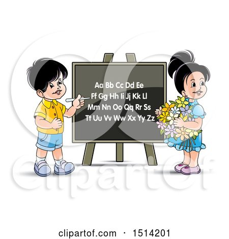 Clipart of a Boy and Girl at a Black Board with the English Alphabet - Royalty Free Vector Illustration by Lal Perera