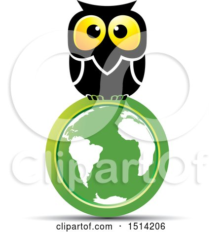 Clipart of a Big Eyed Owl on a Green Globe - Royalty Free Vector Illustration by Lal Perera
