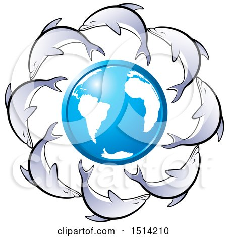 Clipart of a Blue and White Earth Globe Encircled with Dolphins - Royalty Free Vector Illustration by Lal Perera