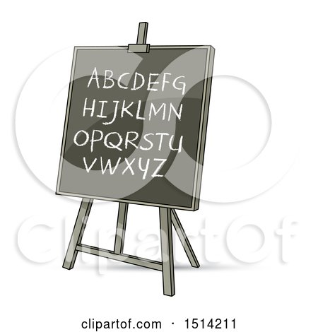 Clipart of a Black Board with English Alphabet Letters - Royalty Free Vector Illustration by Lal Perera