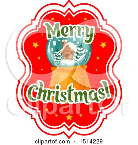 Clipart of a Merry Christmas Greeting with a Snow Globe - Royalty Free Vector Illustration by Vector Tradition SM