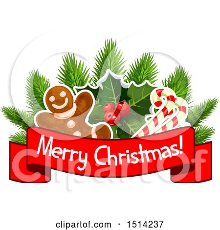 Clipart of a Gingerbread Man with Holly and Candy Canes ...