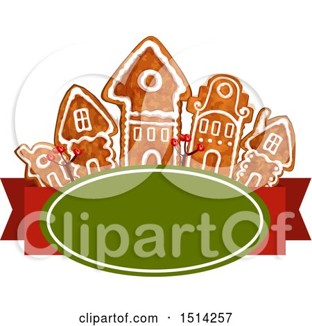 Clipart of a Row of Christmas Gingerbread Houses over a Banner - Royalty Free Vector Illustration by Vector Tradition SM