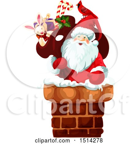 Clipart of a Santa Claus Climbing into a Chimney - Royalty Free Vector Illustration by Vector Tradition SM