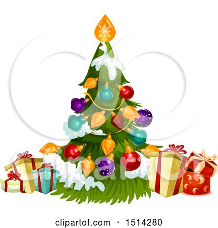Clipart of a Christmas Tree and Presents - Royalty Free Vector Illustration by Vector Tradition SM