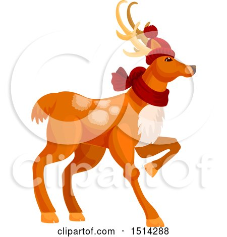 Clipart of a Christmas Reindeer - Royalty Free Vector Illustration by Vector Tradition SM
