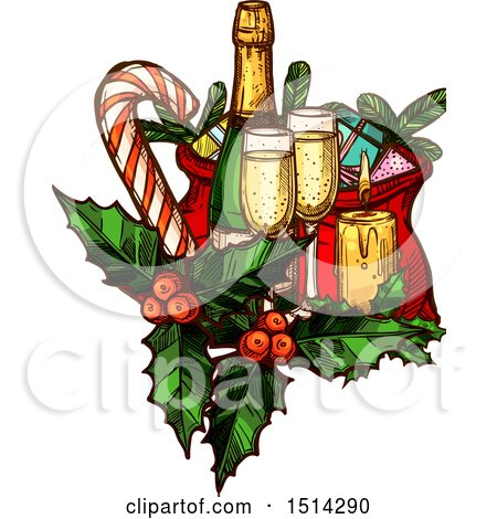 Clipart of a Champagne Bottle and Glases with Gifts, Holly, a Candy Cane and Candle - Royalty Free Vector Illustration by Vector Tradition SM
