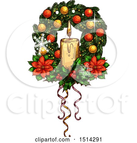Clipart of a Christmas Wreath with Poinsettias and a Candles - Royalty Free Vector Illustration by Vector Tradition SM