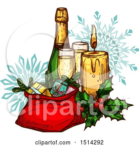 Clipart of a Champagne Bottle with Glasses, a Candle, Holly and Sack of Gifts over Snowflakes - Royalty Free Vector Illustration by Vector Tradition SM