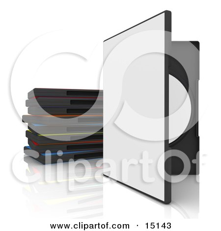 Open White Dvd Or Software Case With A Blank Cover, Balanced Upright Beside A Stack Of Colorful Cases On A White Reflective Background Clipart Graphic Illustration by 3poD