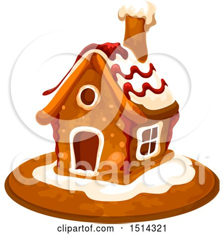Clipart of a Christmas Gingerbread House - Royalty Free Vector Illustration by Vector Tradition SM