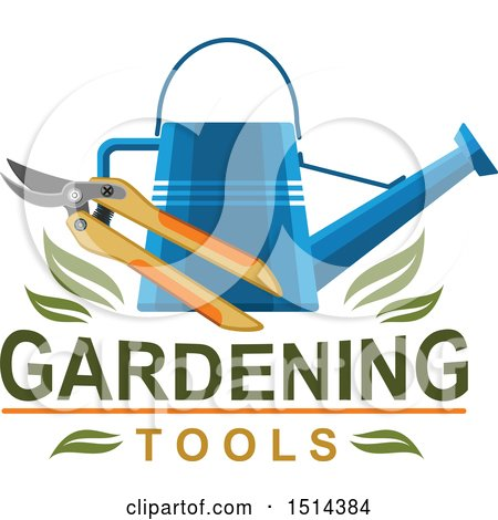 Clipart of a Watering Can and Pruners with Leaves and Text - Royalty Free Vector Illustration by Vector Tradition SM