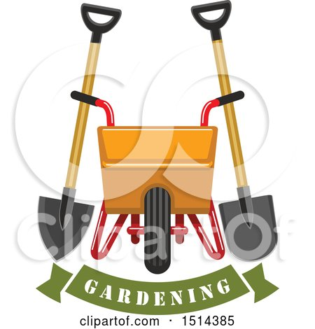Clipart of a Yellow Wheelbarrow, Spade and Shovel over a Gardening Banner - Royalty Free Vector Illustration by Vector Tradition SM