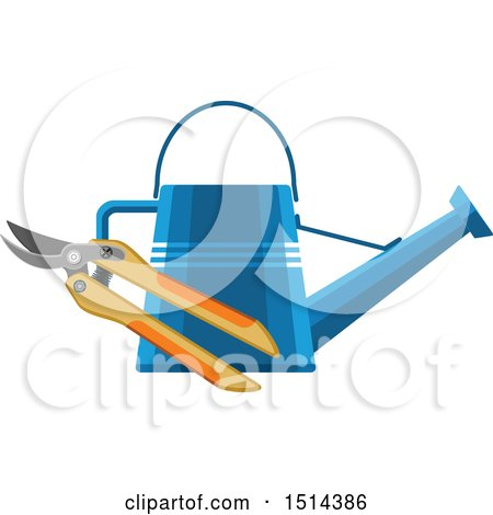 Clipart of a Watering Can and Pruners - Royalty Free Vector Illustration by Vector Tradition SM
