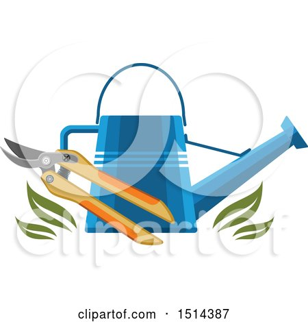 Clipart of a Watering Can and Pruners with Leaves - Royalty Free Vector Illustration by Vector Tradition SM
