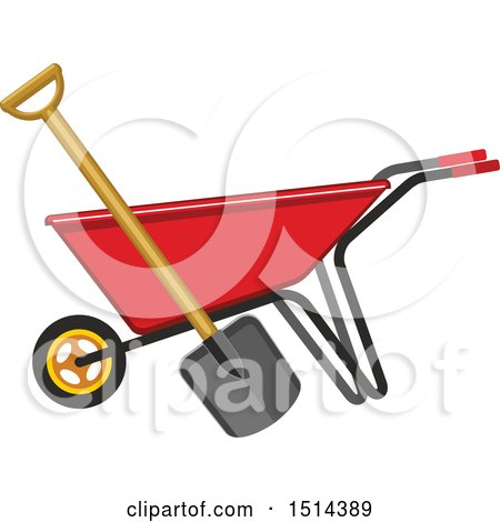 Clipart of a Red Wheelbarrow and Shovel - Royalty Free Vector Illustration by Vector Tradition SM