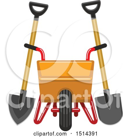 Clipart of a Yellow Wheelbarrow, Spade and Shovel - Royalty Free Vector Illustration by Vector Tradition SM