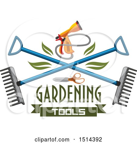 Clipart of a Spray Nozzle and Crossed Rakes with Text - Royalty Free Vector Illustration by Vector Tradition SM