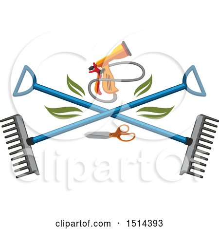 Clipart of a Spray Nozzle and Crossed Rakes - Royalty Free Vector Illustration by Vector Tradition SM