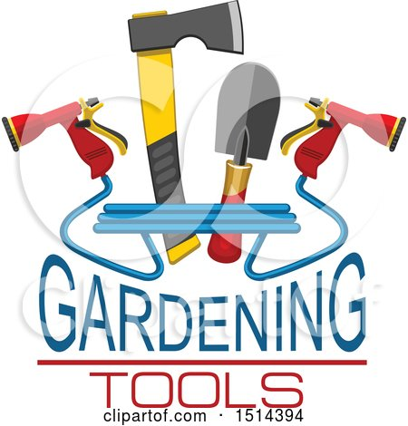 Clipart of a Hatchet, Hand Spade and Spray Nozzles with Gardening Tools Text - Royalty Free Vector Illustration by Vector Tradition SM