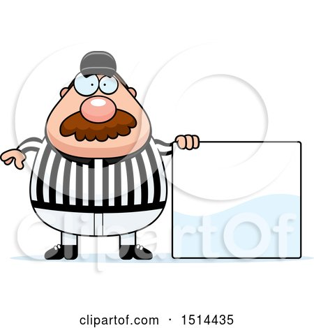 Clipart of a Chubby Male Referee with a Mustache, Standing by a Sign - Royalty Free Vector Illustration by Cory Thoman