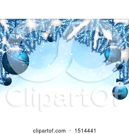 Clipart of a Christmas Background with Snow and Blue Branches with Suspended Ornaments - Royalty Free Vector Illustration by dero