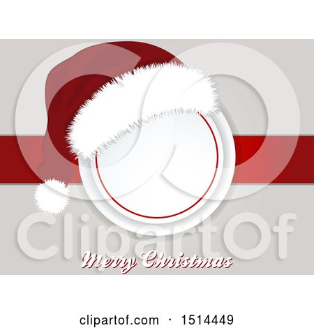 Clipart of a Santa Hat over a Frame and Ribbon with Merry Christmas Text - Royalty Free Vector Illustration by elaineitalia