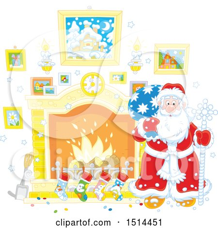 Clipart of a Christmas Santa Claus Holding a Sack by a Fireplace - Royalty Free Vector Illustration by Alex Bannykh