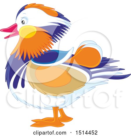 Clipart of a Mandarin Duck in Profile - Royalty Free Vector Illustration by Alex Bannykh