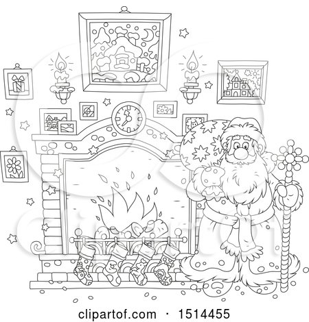 Clipart of a Black and White Christmas Santa Holding a Sceptre by a Fireplace - Royalty Free Vector Illustration by Alex Bannykh