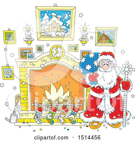Clipart of a Christmas Santa Claus Holding a Sceptre by a Fireplace - Royalty Free Vector Illustration by Alex Bannykh