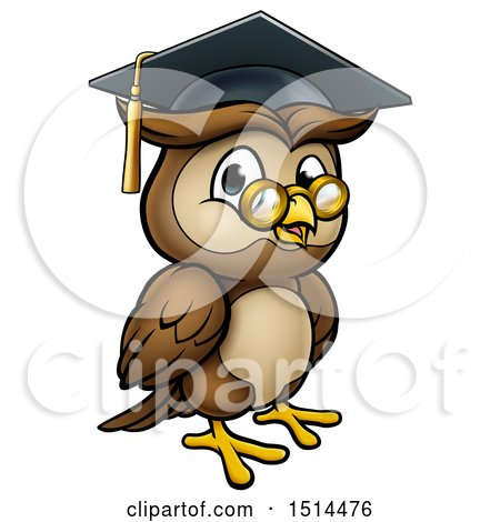 Clipart of a Wise Professor Owl with Glasses and Graduation Cap - Royalty Free Vector Illustration by AtStockIllustration