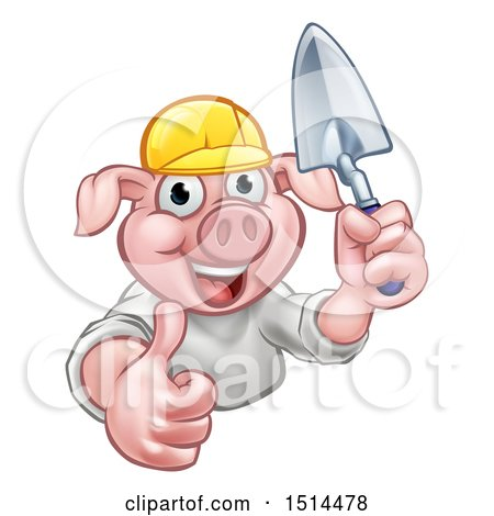 Clipart of a Happy Pig Mascot Mason Holding a Trowel - Royalty Free Vector Illustration by AtStockIllustration