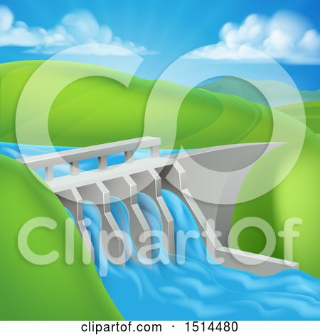 Clipart of a Green Energy Hydroelectric Dam in a Hilly Landscape - Royalty Free Vector Illustration by AtStockIllustration