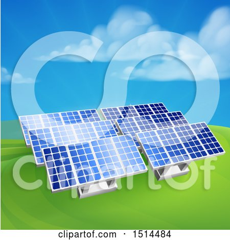 Clipart of Green Energy Solar Panels in a Hilly Landscape - Royalty Free Vector Illustration by AtStockIllustration