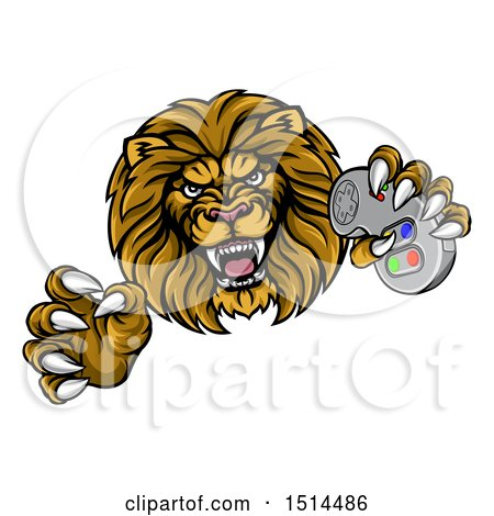 Clipart of a Leaping Male Lion Holding a Video Game Controller - Royalty Free Vector Illustration by AtStockIllustration