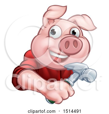 Clipart of a Happy Pig Mascot Carpenter Holding a Hammer - Royalty Free Vector Illustration by AtStockIllustration