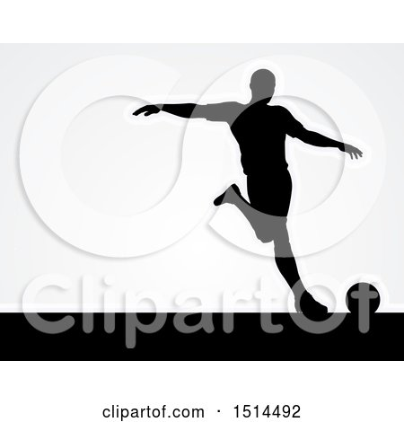 Clipart of a Black Silhouetted Male Soccer Player over Gray - Royalty Free Vector Illustration by AtStockIllustration