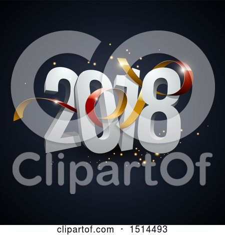 Clipart of a 3d New Year 2018 Design with a Ribbon and Sparkles on Dark Blue - Royalty Free Vector Illustration by beboy