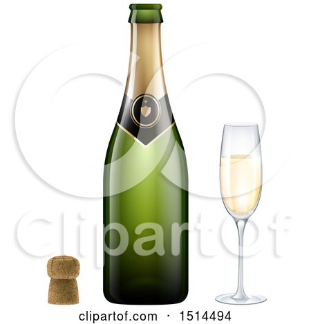 Clipart of a 3d Champagne Bottle, Cork and Glass - Royalty Free Vector Illustration by beboy