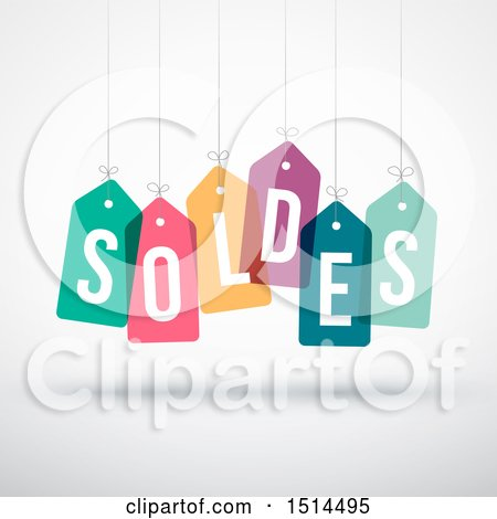 Clipart of a French Soldes Sales Design with Suspended Colorful Price Tags - Royalty Free Vector Illustration by beboy