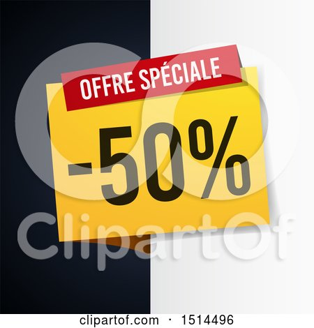 Clipart of a French Sales Design with Half off - Royalty Free Vector Illustration by beboy