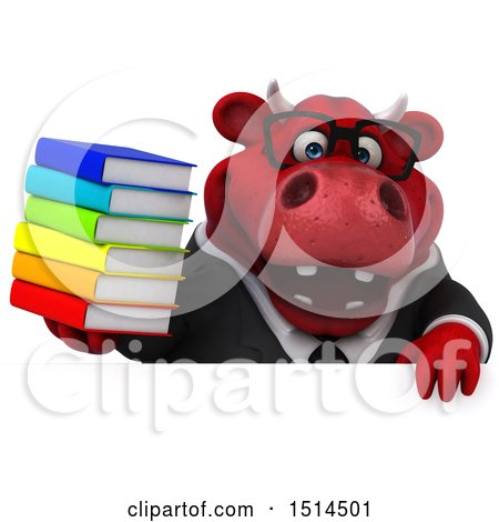 Clipart of a 3d Red Business Bull Holding Books, on a White Background - Royalty Free Illustration by Julos